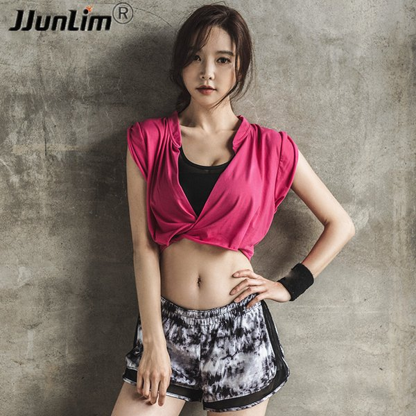 Short Type Women Fitness Top Yoga Shirt Summer Loose Running Shirts Workout Gym Shirts Quick Dry Women Sport Tank Top Sportswear