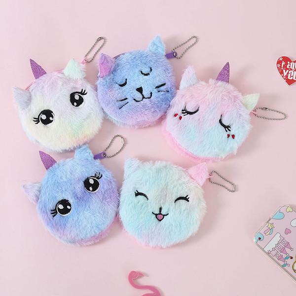 5 stili gatto unicorno peluche portafoglio breve moneta borsa del fumetto cerniera per bambini studente chiave ciondolo borsa sacchetti di immagazzinaggio della carta titolare della carta 10 cm FFA2748