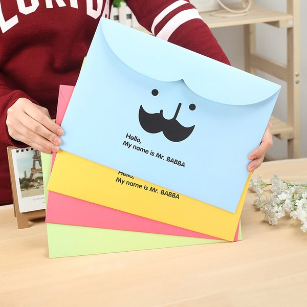 2pcs Creative Stationery Students Lovely Stationery Office Supplies Beard A4 Paper Folder File Pocket