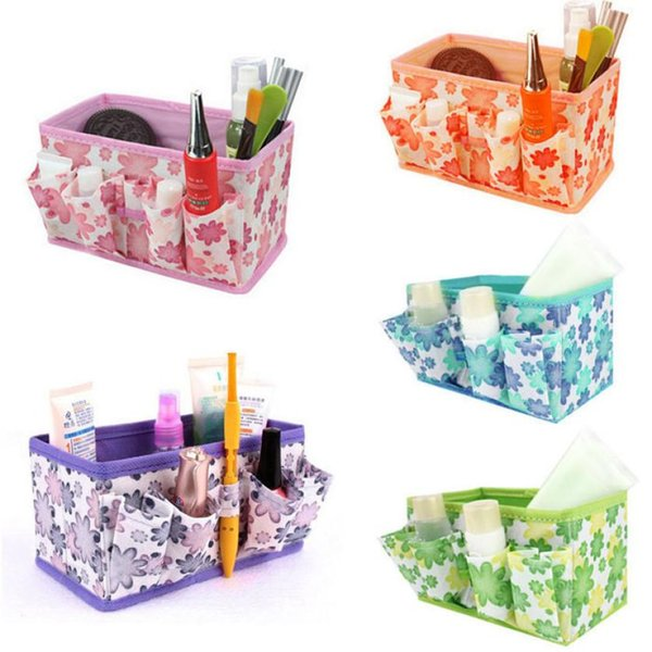 MUQGEW 2017 New Makeup Cosmetic Storage Multifunction Box Bag Bright Organiser Printing Flower Foldable Stationary Container
