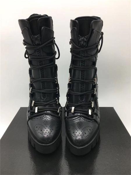 (2019) Marka Moda Deri Ayakkabı kadın Kalın topuklu Çapraz kravat Siyah Motosiklet Boots Platformu Ayak Bileği Modern kadın Yüksek topuklu çizmeler