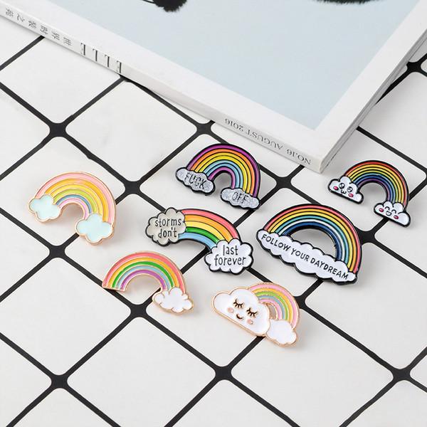 Hohe qualität Niedliche Regenbogen Brosche Dame Emaille Pins Cartoon Wolke Abzeichen Denim Jacken Revers Pin Traum Schmuck Geschenk für Kinder Geschenk