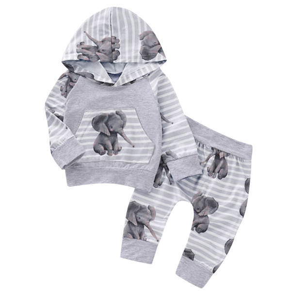 New Newborn Baby Girls Boy Tracksuit Long Sleeved Cartoon Elephant Striped Hooded Tops Pants Autumn Clothes Outfits Sets#g4