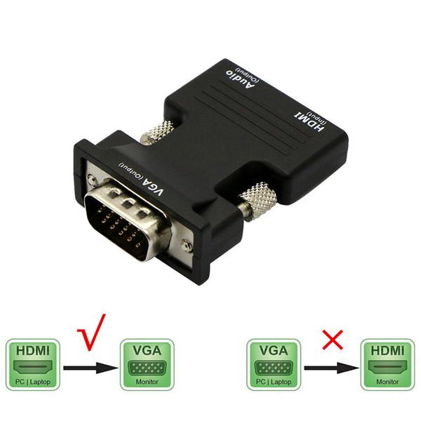 HDMI ile VGA Dönüştürücü Adaptör Ses Kadın Erkek Kablolar 1080 P HDTV Monitör Projektör PC için