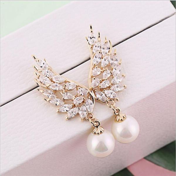 Designer Ladies Angel Wings Earrings Crystal Artificial Pearl Pendant Asymmetrical Earrings Free Shipping Gift Trendy