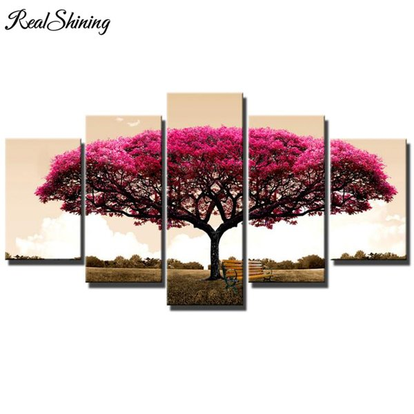 Pink red tree chair multi picture diamond painting landscape 5pcs 100% Square/round Rhinestones Nordic Diamond Embroidery FS4879