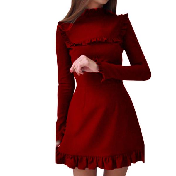 Winter Party Dress Women Clothes 2019 Elegant Ruffles Long Sleeve Mini Dresses Woman Party Night Red Dress