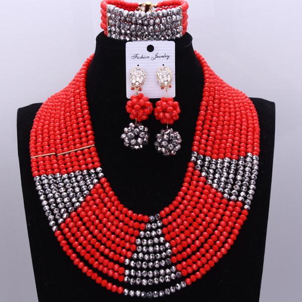 Dudo Store Afrikanische Schmuck Rot Und Silber 10 Reihen Hochzeit Schmuck Sets Armband Ohrringe und Halskette Set Freies Verschiffen 2019 Neu