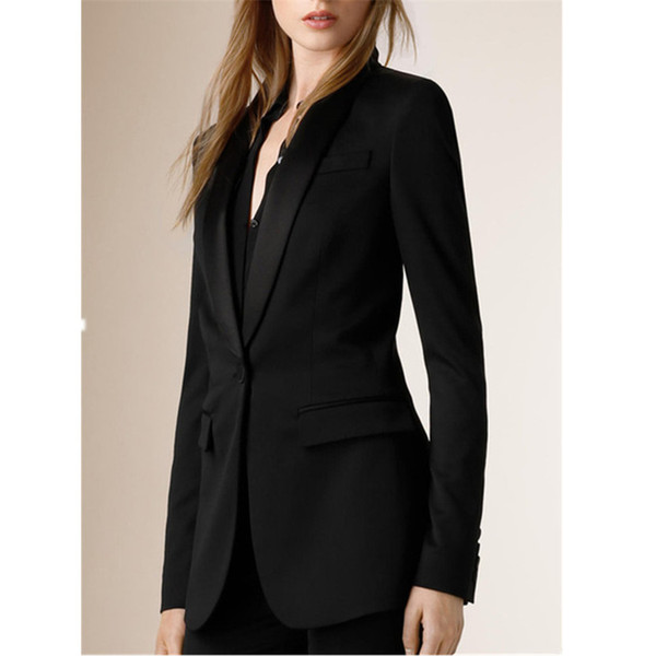 Slim temperament solid color suit two-piece suit (jacket + pants) ladies business formal wear support custom