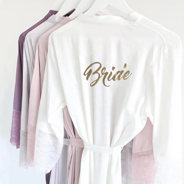 Sexy R18 Satin Lace Trim Kimono Vestidos de Novia Brillo de oro Novia de dama de honor Vestido de camisón Vestido de fiesta Ropa de dormir para mujeres