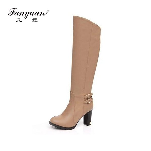 Buckle Over The Knee High Thigh Knight  Boots Plus size Womens Low Heels 10