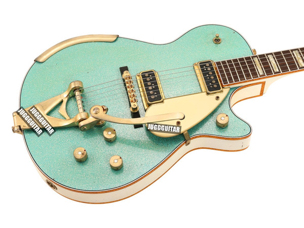 Custom Shop Masterbuilt 1955 Duo Jet Surf Green Sparkle Guitarra eléctrica Lados traseros blancos Headstock, Gold Sparkle Binding, Bigs Tailpiece,
