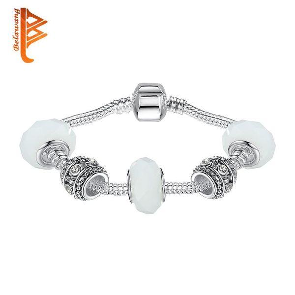 Nlm99 Argent Charm Bracelet pour femmes avec des perles en verre de Murano blanc charme bijoux bricolage Bijoux de mariage 18-20cm Livraison gratuite