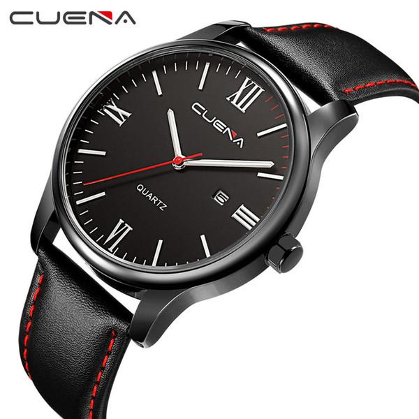 Cuena hombre relojes de lujo de imitación de cuero azul ray vidrio cuarzo analógico con Calen hombre relojes hombre reloj hombres relojes de pulsera