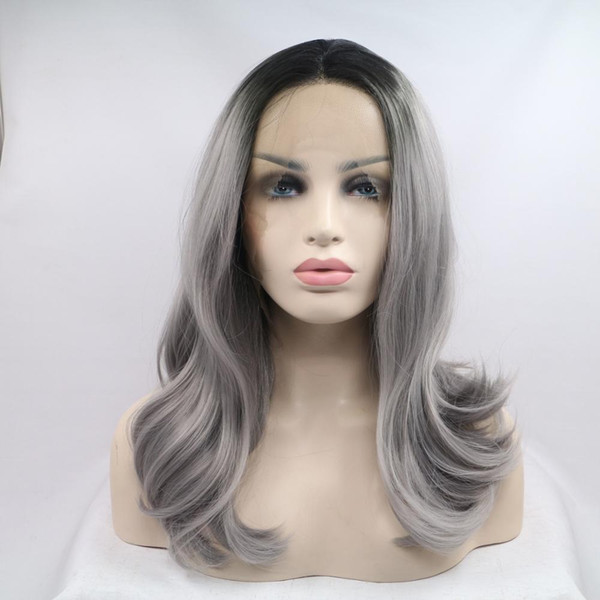 Glueless 100% unprocessed remy virgin human hair grey colorful body wave long full lace silk top wig for women