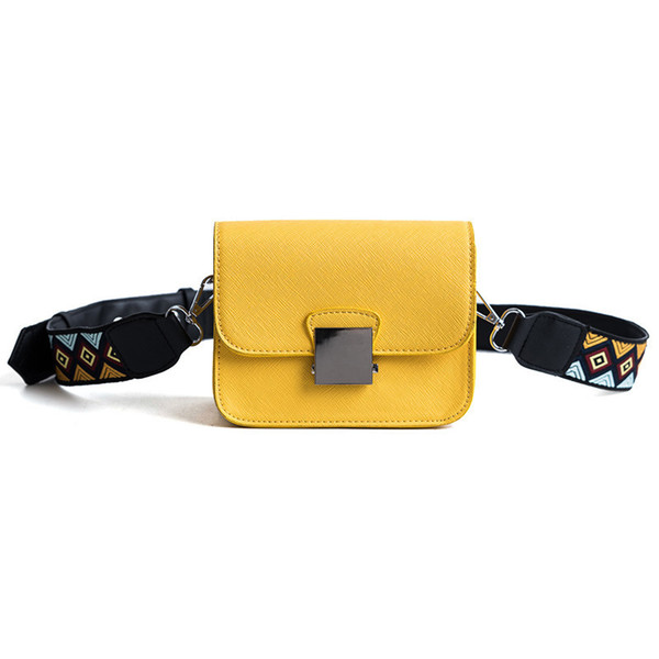 Pop2019 Yellow Coloured Ribbon Small Square Oblique Tide Satchel Joker Concise Ma'am Bag Diagonal Single Shoulder Package
