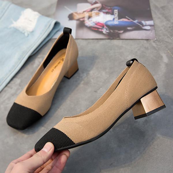 Único Honor2019 Temporada Mujer Abuela Zapato Color de color Punto grueso Con Joker Zapatos de mujer real pequeños