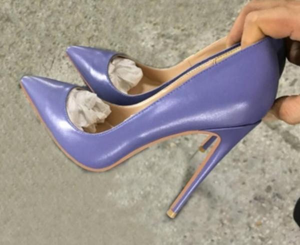 Nueva mujer de piel de oveja azul-gris puntiagudo stiletto tacones altos zapatos 2019 8 cm 12 cm 10 cm gran tamaño 44 discoteca baile vestido de boda fiesta de trabajo