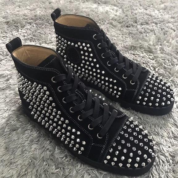 black suede leather silver spikes