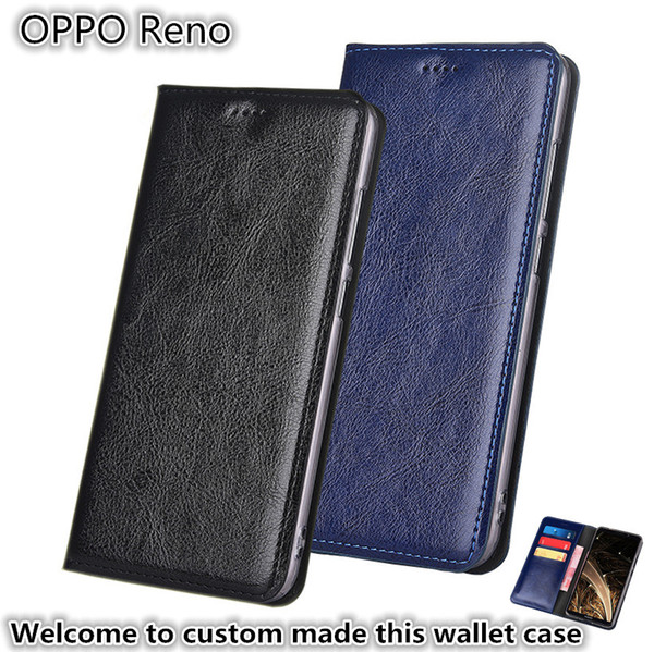 QX13 Gneuine Leather Wallet Phone Bag With Card Holders For OPPO Reno Phone Case Kickstand For OPPO Reno Phone Pouch