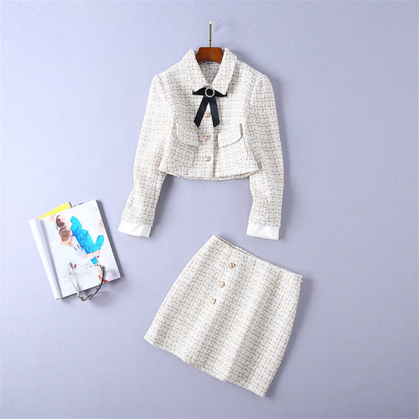 Spring Auturn Women Clothes Ivory Color Sweater 2 Piece Sets Skirt Suits Slim Striped Butterfly Bow Clothing Set Female Tracksuit Szie S-XL