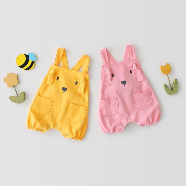 Spring Autumn Toddler Baby Boys Girls Rompers Cotton Cartoon Bear Front Pockets Designs Soft Fabric Belt Jumpsuits Newborn Bodysuits 0-2T