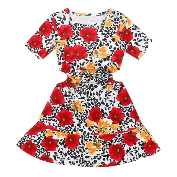 2020 Toddler Kids Baby Girl Floral Dress Ruffles Print Princess Pageant Party A-Line Dress Summer