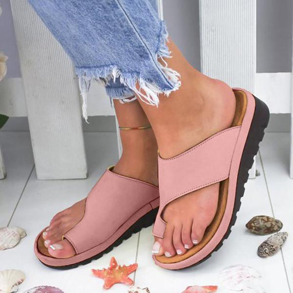 MUQGEW Chaussures femme Sandales Wedges caoutchouc PU Slip sur la plage Chaussures ouvertes Chaussures Roman Chaussons Sandales Orthopedische Bunion Correcteur