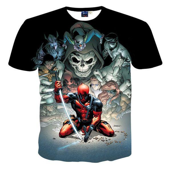 2018 T-Shirt Dos Homens Deadpool 3D Impressão Dos Homens Camisa de Verão T Americano Comic Badass Deadpool Casual Nova Chegada Roupas.