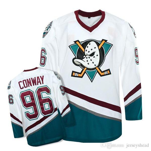 하키 유니폼 마이티 오리 영화 유니폼 96 CONWAY 스티치 유니폼 겨울 스포츠웨어 Ice Wholesale Dropship
