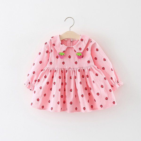 quality 2019 kids girls spring autumn dress cotton long sleeves strawberry pattern clothes children girls pricness party dress