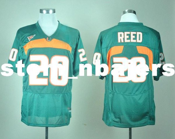 Cheap custom NEW Miami Hurricanes Ed Reed #20 College Football Jersey - Green Stitched Customize any number name MEN WOMEN YOUTH XS-5XL
