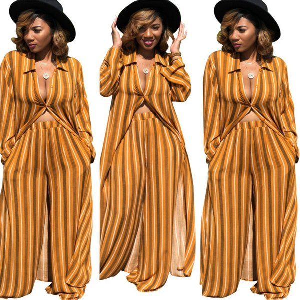 Vertical Striped Two Piece Set Three Colors Maxi Robe Cardigan Long Flare Pants Palazzo Fringe Matching Sets Kaftan Loose Dashiki African