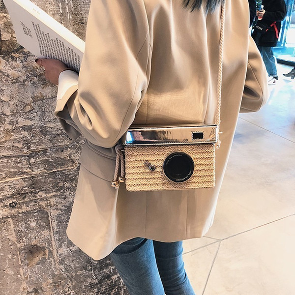 Camera Shape Small Square Bags 2019 Luxury Handbags Women Bags Designer Summer Straw Beach Bag Female Shoulder Messenger Handbag