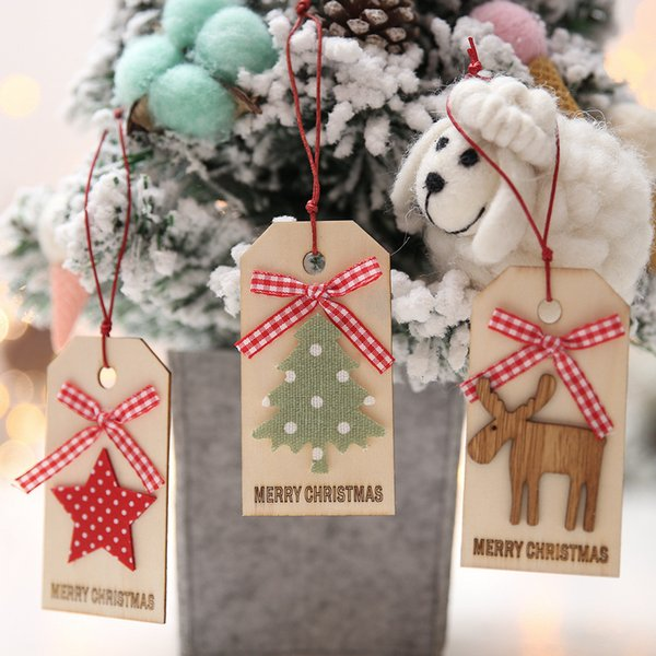 Merry Christmas Pendant Ornaments DIY Wood Crafts Gifts Xmas Tree Ornaments Gifts Decor Christmas Decorations For Home C30422