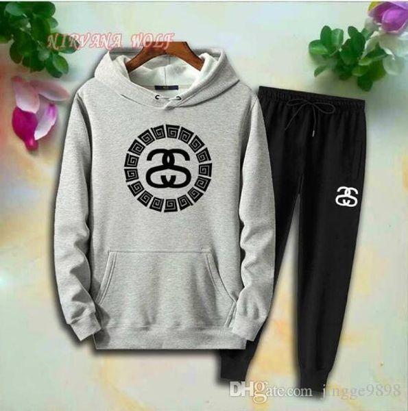 2019 - STSY Bambini Sports Set Bambini Sets 2-8T Bambini Hoodies Pantaloni 2Pcs / sets Ragazzi e Ragazze Pure Cotton Logo rotondo Stampa stile Primavera