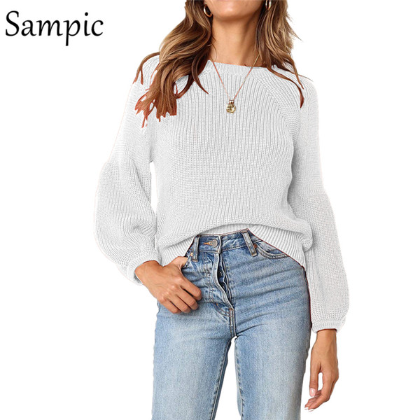 Sampic women casual crop loose o neck sweater oversized ladies plus size sweater and pullovers autumn winter