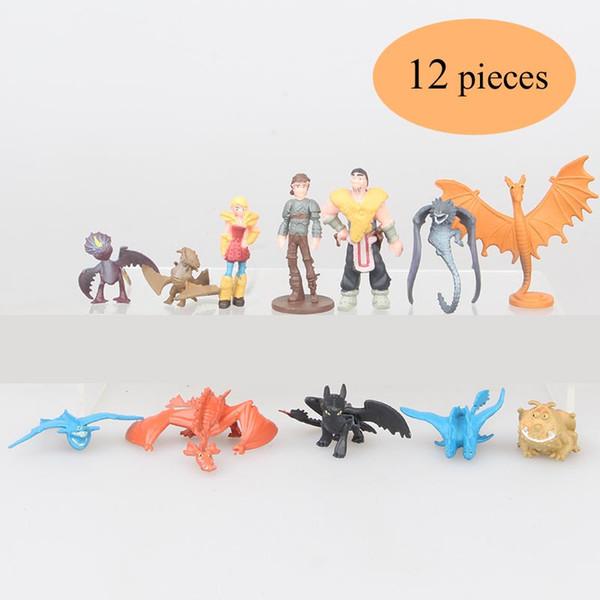 12pcs / set Cómo entrenar a tu dragón 3 Figuras de acción de dibujos animados Juguetes Cráneo sin dientes Gronckle Mortal nadador Noche Furia Dragón Figuras niños juguete C