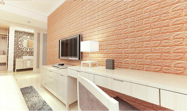 60 * 30 cm 3D Duvar panelleri İmitasyon Tuğla Yatak Odası Dekor Su Geçirmez Kendinden yapışkanlı Duvar Kağıdı Oturma Odası Mutfak TV Zemin Dekor Için