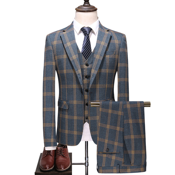 ( 3pcs Set: Jacket+Vest+Pants ) Men's Chequered Suit Three-piece Wool Cloth Suits for Men Wedding Suits,Size:S~5XL,Yellow Grid