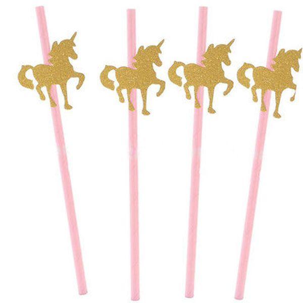 25PCS 반짝이 골드 유니콘 종이 빨대 어린이 생일 파티 베이비 샤워 장식