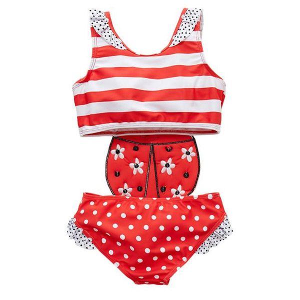 268029cf94 Newborn Baby Girls Bathing Suit Ladybug Embroidery Children Girls One Piece  Patchwork Summer Girls Swimming Wear Banadore