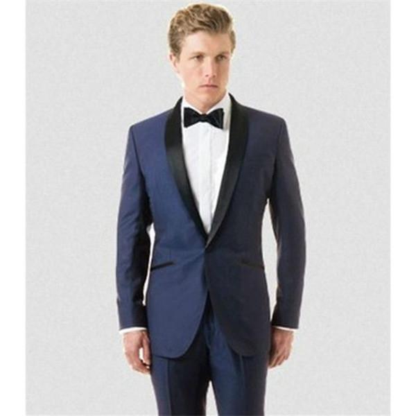 Son uyar Damat smokin saten Siyah şal yaka düğün erkek 3 parça için suit erkekler suit (ceket + Pantolon + papyon)