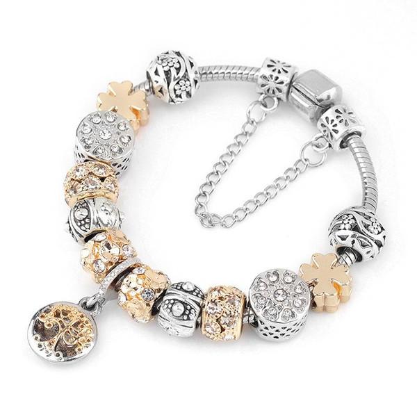 Cor Prata Vintage Charm Bracelet com árvore de vida pingente de ouro bola de cristal pulseira marca Dropshipping