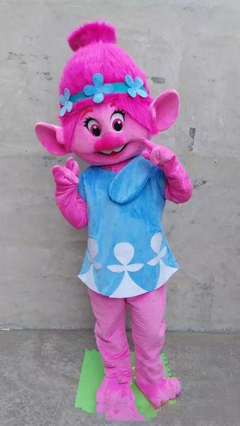 Nuevo De alta calidad Deluxe Troll Princesa Poppy traje de la mascota Troll adulto traje de lujo envío gratis
