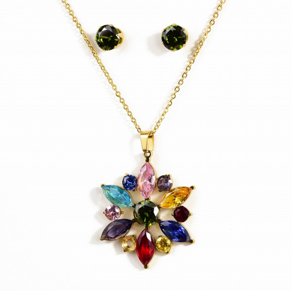 Sun flower titanium steel jewelry women's crystal necklace colorful gemstone necklace earrings set ornament