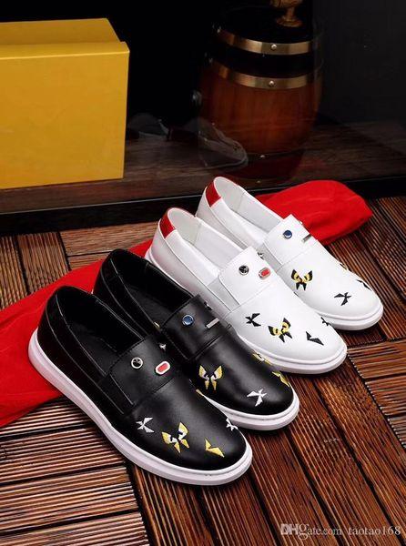 Zapatos planos para hombres Zapatillas de deporte de cuero Punk Style Runner, zapatos casuales para hombres decorados con calavera de metal para tallas gratis 38-44