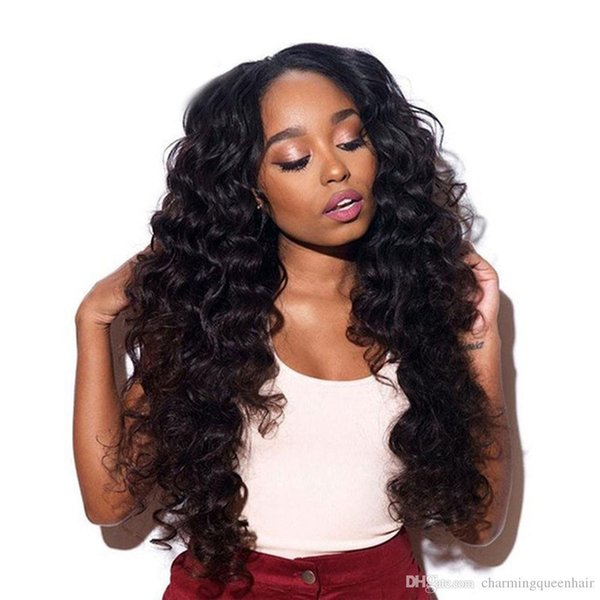Indian Deep wave human hair wigs Pre Plucked With Baby Hair deep wave virgin hair lace frontal wigs natural color
