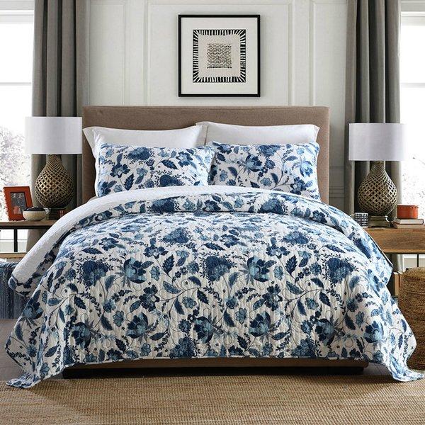 Neue Baumwolle Bettdecke Quilt Set 3 stücke Bettdecke Steppbettwäsche Waschbar Bettdecken Kissenbezug König Queen Size Decke