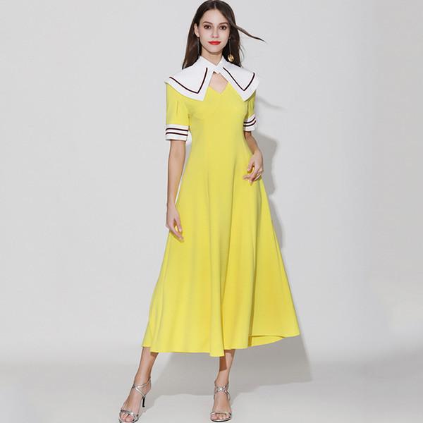 Damen Runway Designer Kleider mit V-Ausschnitt Abnehmbarer Umhang Kragen mit kurzen Ärmeln Gestreifte Mode Casual Sommerkleider